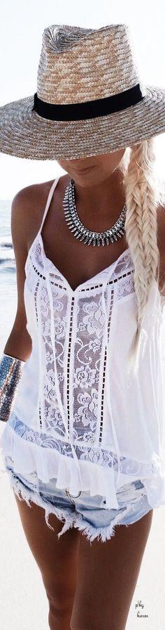 Denim, White Bohemian Lace Top,  Hat and Braid #denim