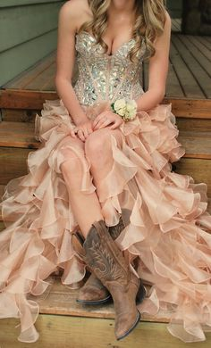 Beautiful gold and silver prom dress with ruffled skirt, sweetheart neckline, and chunky beaded bodice... and cowboy boots!!