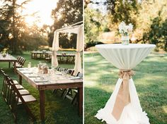 love the tall round table with table cloth but with a rose pink ribbon