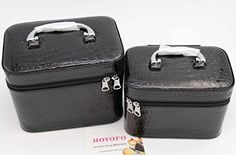 HOYOFO 2-Piece Stone Texture Cosmetic Train Case Set Large Makeup Bags with Mirror,Black -- Click image to review more details.