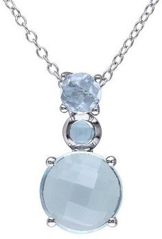 6 4/5 CT. T.W. Blue Topaz Pendant Necklace in Sterling Silver at Target