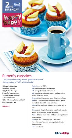 Join us in celebrating smart shopper's birthday with butterfly cupcakes! Delicious Recipes, Easy Recipes, Easy Meals, Yummy Food, Cupcake Recipes, Baking Recipes, Dessert Recipes, Desserts, Butterfly Cupcakes