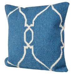 """Bungalow Rose Cosima Geometric Wool Throw Pillow Size: 18"""" H x 18"""" W x 4"""" D, Color: Blue / Ivory, Filler: Down"""