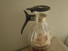 Vintage Pyrex Coffee Tea Pot with Gold Stripes/ Vintage 50s by Feisty Farmers Wife on Etsy, $12.00