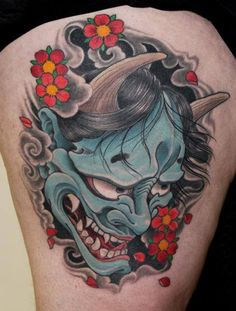 Tattoo by Pete Vaca - Full Circle Tattoo - San Diego, CA. ~I would love to get a Hannya tattoo and a Koi tattoo Japanese Demon Tattoo, Japanese Tattoos For Men, Traditional Japanese Tattoos, Japanese Tattoo Designs, Japanese Sleeve Tattoos, Japanese Tattoo Meanings, Hanya Mask Tattoo, Oni Tattoo, Japan Tattoo