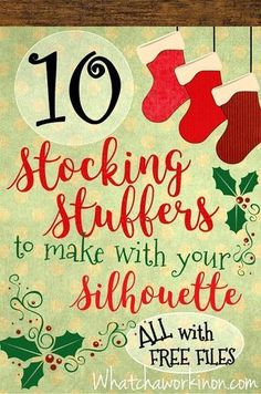 FREE Silhouette files for 10 stocking stuffers. Silhouette Cameo Christmas, Silhouette Cameo Files, Silhouette Studio, Silhouette Vinyl, Free Cut Files For Silhouette, Free Silhouette Designs, Silhouette Portrait, Silouette Cameo Projects, Silhouette Projects