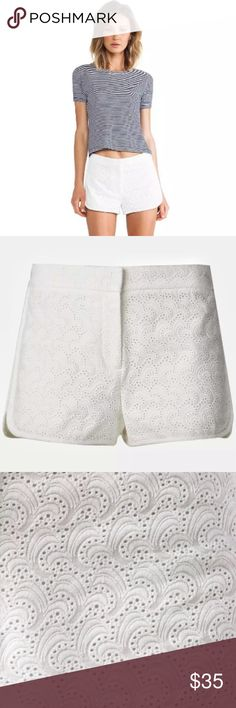 Theory Nadrea Ellice Cotton Eyelet White Shorts Brand new with tags, women's size 4. Retails for $170! A sweet pair of shorts shaped from pretty cotton eyelet fabric are styled with staggered hems to enhance movement. Zip fly with hook-and-bar closure. Lined. 100% cotton. Theory Shorts