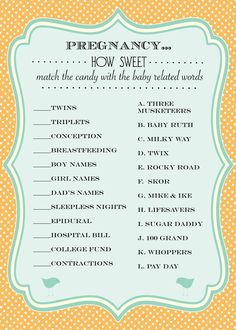 Baby Shower Games Shabby Chic (Gender Neutral) Turquoise and Orange - Print Your Own