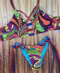 Limited edition 4:1 bikini. Top Size:One Size Top fits A-DD Cup Sizes. String Material:Metallic tie strings. Bottom Size:One Size Tie String Bottoms fits si...