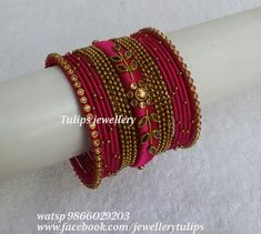 Silk Thread Bangles Design, Silk Thread Necklace, Silk Bangles, Gold Bangles Design, Bridal Bangles, Thread Jewellery, Beaded Jewelry Patterns, Fabric Jewelry, Ankle Jewelry