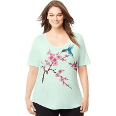 Plus Size Just My Size Graphic Scoopneck Tee, Women's, Size: 2XL, Lt Green