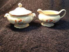 "$24.99 Homer Laughlin Virginia Rose Creamer Sugar ""Tulips in a Basket"" RED Trim RARE! #HomerLaughlin"