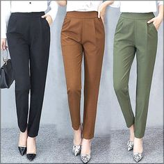 Summer Trousers Women Pants Elastic High Waist Office Lady Pant Solid Casual Female Trousers Work Wear Harem Pants StreetwearYou are in the right place about Women Pants classy Here we offer you the most beautiful pictures about the Women Pants chin Looks Kate Middleton, High Waisted Dress Pants, High Waist Pants, Pants For Women, Clothes For Women, Formal Trousers Women, Work Trousers Women, Womens Work Pants, Ladies Pants