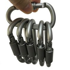 6pcsset Aluminum Dring Locking Carabiner Keychain Quickdraw Carabiner Clip Large Hook Buckle Outdoor Camping Hiking Fishing * Check this awesome product by going to the link at the image.Note:It is affiliate link to Amazon.