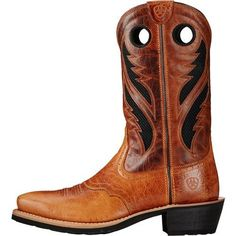 Ariat Men's Heritage Roughstock VentTEK Square Toe Roper Boots (Gingersnap/Two-Tone Tan, Size 9.5) - Men's Ropers at Academy Sports