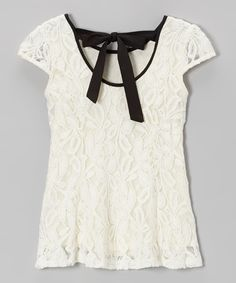 Ivory Flower Lace Top with Black Bow on Back