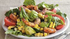 Grilled shrimp salad filled with corn and lettuce gives you a hearty dinner – that's ready in 25 minutes. Perfect if you love Southwestern cuisine.