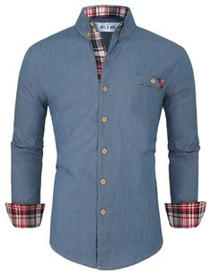 Tom's Ware Mens Classic Inner Contrast Denim Button Down Shirt at Amazon Men's Clothing store: