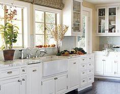light blue tile kitchen