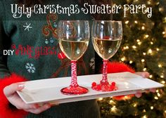 Make fun Ugly Christmas Sweater Party Wine Glasses using tissue paper, trims and dollar wine glasses. A perfect hostess gift as well!