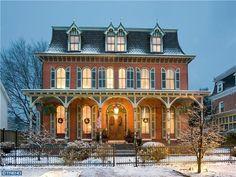 1881 Second Empire (210 N Cass St, Middletown, DE) - awww looks so lovely at christmas