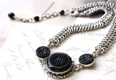 Silver Chain Maille CHOKER Necklace Antique Black by veryDonna