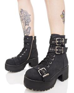 Current Mood Buckle Buddy Boots ...strap in N get down to bizness, bb. These dope ankle boots are constructed from an xXxtra soft matte vegan leather, featurin' three adjustable metal buckles, stitched trim, textured tread, front laces and inner ankle zipper closure.