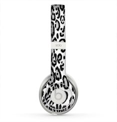 The Black and White Snow Leopard Pattern Skin for the Beats by Dre Solo 2 Headphones from Design Skinz, INC.: $19.99