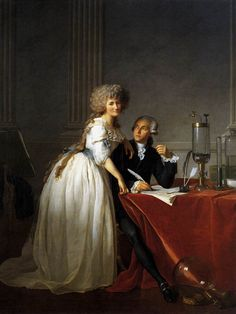 """Jacques Louis David's incredible portrait of the Lavoisier's. Antoine Lavoisier is widely considered 'The Father of Modern Chemistry"""". It did not pay to be an intellectual during the Revolution and he was executed by guillotine. On August 8, 1793, all the learned societies, including the Academy of Sciences, were suppressed."""