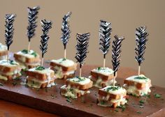 Croque Monsieur Mini Bites Appetizer- imagine these skewered with rosemary springs? I think they would be stunning x