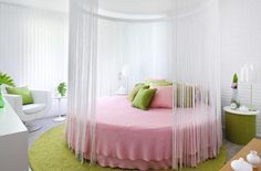 round+shaped+mattresses | The pink round shaped beds with curtain