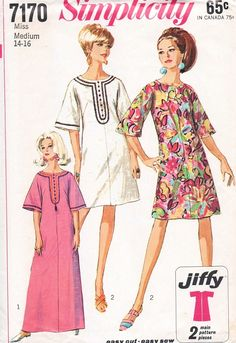 1960s Mod Dress or Caftan Pattern Simplicity 7170  Easy To Sew Jiffy Bell Sleeve Day Evening  Hostess or Beach Caftan Medium Size Vintage Sewing Pattern UNCUT