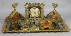 Gilt METAL DRESSER set.  CLOCK, TRAY PERFUMES, DRESSER BOX, ETC