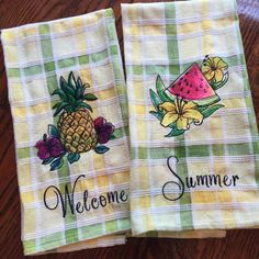 """Love these """"Summer tastes"""" embroidered dishtowels I made.  Available for sale now!"""