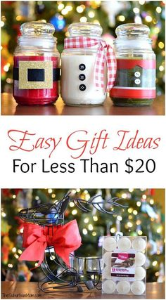 Christmas gift giving just got a whole lot easier! These Christmas Gift Ideas are EASY to put together and are all UNDER $20 each! Visit our 100 Days of Homemade Holiday Inspiration for more recipes, decorating ideas, crafts, homemade gift ideas and much more!