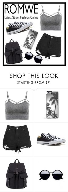 """""""ROMWE: Grey Spaghetti Strap Lingerie"""" by devioussoapbar ❤ liked on Polyvore featuring Zero Gravity, Converse and Herschel"""