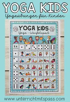 Yogaübungen für Kinder für zwischendurch. Kärtchen und Poster können im Sportunterricht oder für kleine Bewegungspausen in der Schule / im Unterricht eingesetzt werden. Yoga Poses, Homeschooling, Fitness, Kids, Cards, Classroom Posters, Physical Education Lessons, Yoga For Kids, Teaching Ideas
