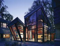 A 3,700 square-foot glass house forms the most visible part of the residence and resembles a viewing pavilion of a major sightseeing attraction. Description from spfaust.wordpress.com. I searched for this on bing.com/images