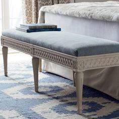 Lombardy Bench. Consider using an upholstered bench as an alternative to dining chairs. #bench #oka #upholstered