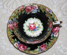 RARE Paragon BLACK Tapestry Rose Vintage Teacup & Saucer c1939-1949 Pink Roses #paragon