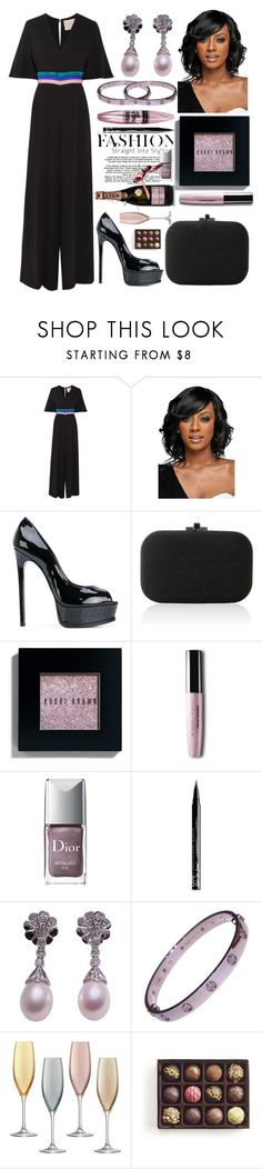 """""""The fashionista at dinner"""" by pulseofthematter ❤ liked on Polyvore featuring Roksanda, WithChic, Casadei, Judith Leiber, Bobbi Brown Cosmetics, Maybelline, Christian Dior, NYX, MoÃ«t & Chandon and LSA International"""