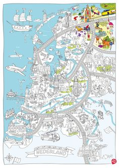 Color, play and discover the Netherlands with this delightful children's map! Creative Teaching, Creative Activities, Fun Activities, Netherlands Map, Pictorial Maps, Summer School, Colouring Pages, Coloring For Kids, Primary School