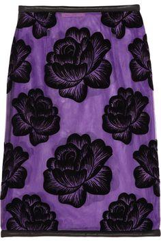 Christopher Kane Leather-trimmed flocked tulle pencil skirt #DesignerSpotlight