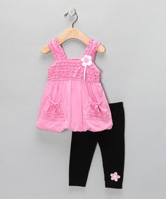 Take a look at this Pink Floral Babydoll Tunic & Leggings - Infant & Girls by Diva on #zulily today!