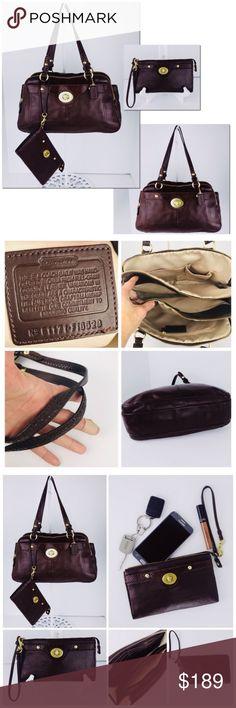 98cd267242a8 Doctor Bag Coach 2pc. Exotics Leat   Wristlet COACH PENELOPE Chocolate  Brown Leather Satchel