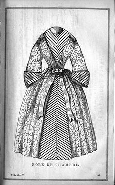 "1850s Victorian Bathrobe.  ""Robe de Chambre"" from Godey's Lady's Book. uvm.edu (University of Vermont)"