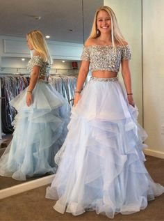 Princess Prom Dresses, Two Piece Off Shoulder Tiered Blue Tulle Prom Dress with Sequins Beading, Plus Size Formal Dresses and Plus Size Party Dresses are great for your next special Occassion at cheap affordable prices The Dress Outlet. Princess Prom Dresses, Prom Dresses Blue, Pretty Dresses, Homecoming Dresses, Beautiful Dresses, Evening Dresses, Short Sleeve Prom Dresses, Beaded Dresses, Latin Dresses