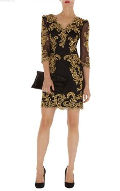 23f88726f48 Karen Millen Dress (Pre-owned Black & Gold Baroque Mesh Dresses) Embroidery  Dress