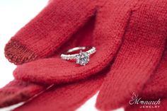Holiday proposal ring packaging idea ~  Do a cold winter activity like go to an ice skating rink, build a snowman or go on a sleigh ride.  Surprise her by placing the engagement ring in a pair of gloves or mittens.  What a way to make those spirits bright! Happy Holidays from Monarch Jewelry!  #WinterParkJewelry #Proposal #sayYes #PropsoalIdeas #DreamEngagementRing
