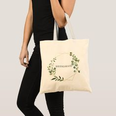 Shop Greenery Geometric Wedding Bridesmaid Tote Bag created by CrispinStore. Floral Tote Bags, Monogram Tote Bags, Bridesmaid Tote Bags, Peach And Green, Gray Yellow, Geometric Wedding, Budget Fashion, Fashion Fashion, Plants